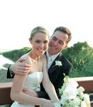 Woman in wedding dress and man in tuxedo
