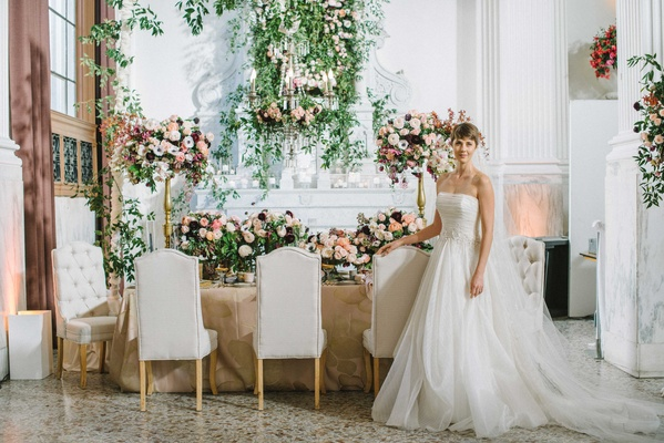 "jinza couture bridal gown ""katie"" in front of modern garden table wedding"