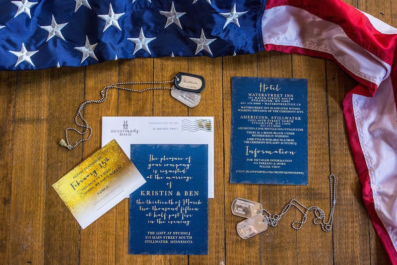 Blue and white invitation, information card, gold response card