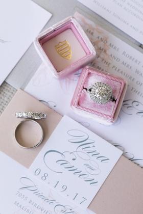 round diamond with double cushion halo engagement ring, eternity wedding band, blush mrs. box