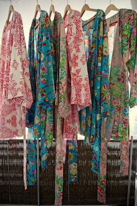 Floral print robes for getting ready in bridal suite