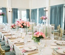 wedding reception pink coral peony flower centerpieces sage green gold curtains chairs