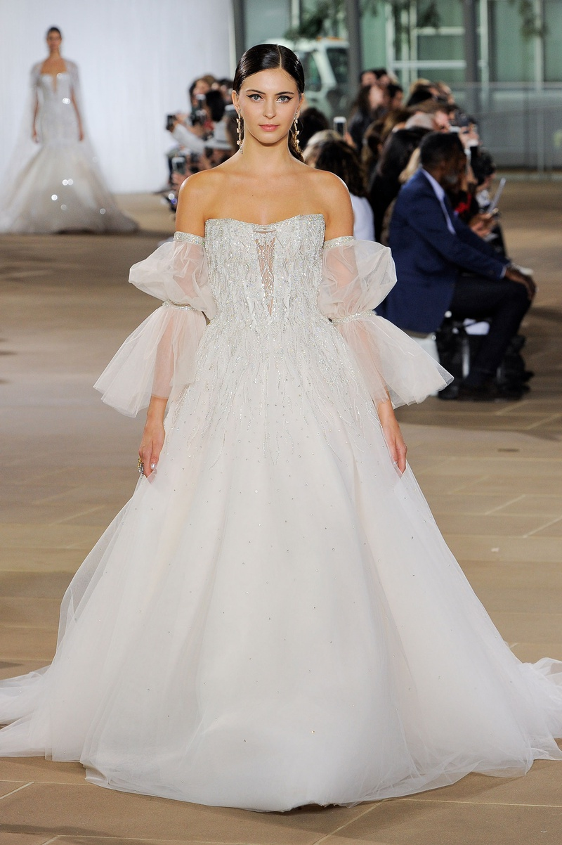 Ines Di Santo fall 2019 bridal collection wedding dress detachable poet sleeves ball gown beading
