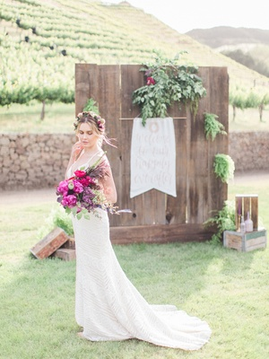 bride boho vibe beaded gown california boho chic wedding styled shoot bright bouquet malibu flower