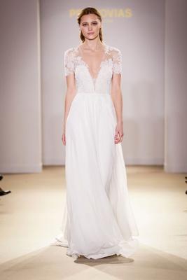 38100f98cdb Atelier Pronovias 2019 bridal collection wedding dresses short sleeve  illusion gown sheath