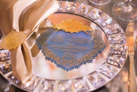 royal wedding celebration african ghana royalty blue acrylic menu gold details matching napkin ring