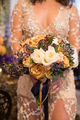 fall bridal bouquet, amber roses, navy berries