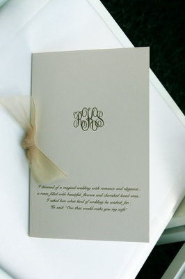 Wedding invitation with sheer champagne ribbon and monogram