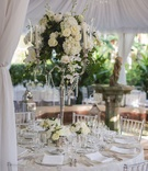 Tall silver candelabra centerpiece with greenery white flowers chandelier crystals and clear chairs