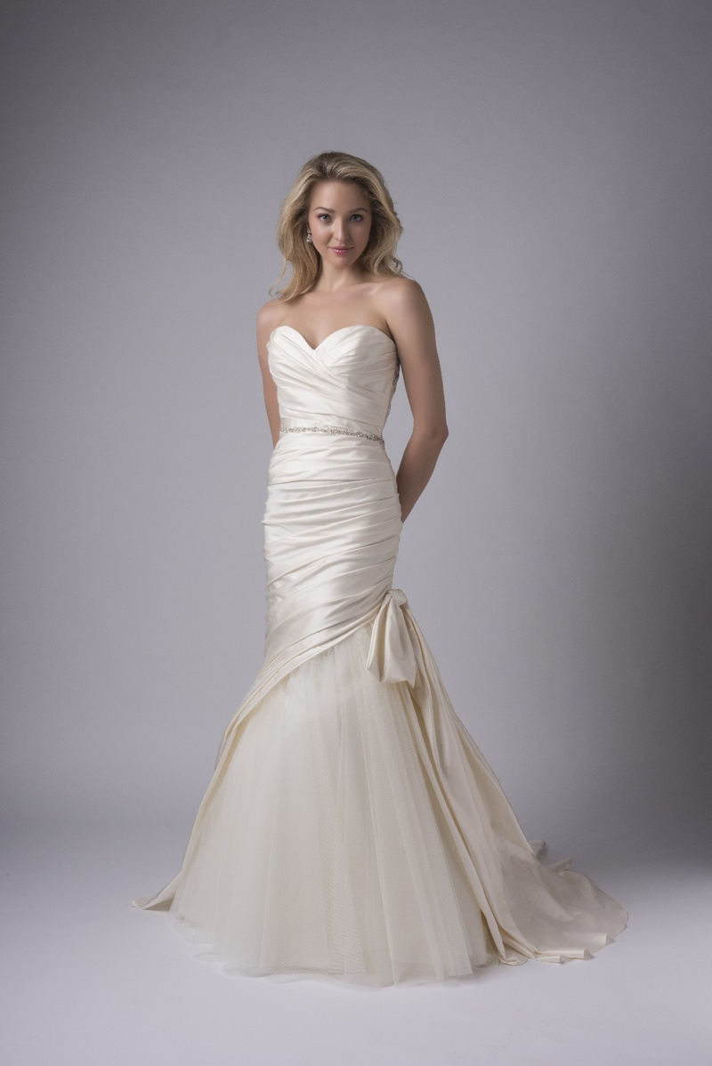 Bridal week contemporary wedding dresses from modern trousseau modern trousseau fall 2017 alexa draped silk gown fit to flare chapel train exposed ombrellifo Choice Image