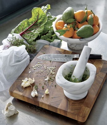 Mortar and pestle on cutting board wedding registry ideas