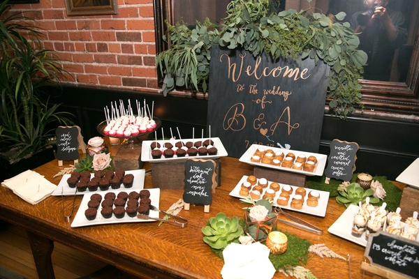 Wedding reception dessert table with welcome sign black rose gold cake pops mini cupcakes