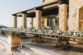 one long table with floral runner, malibu rocky oaks wedding