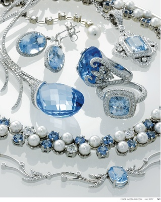 Diamond and blue topaz necklace set in 18K white gold, Kristina Fine Jewelry. One-of-a-kind earrings