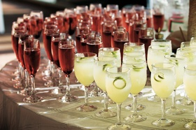 cocktails in champagne flutes and wine glasses
