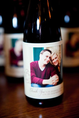 Portrait of couple on half-bottle favors