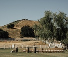 ceremony site at saddlerock ranch in front of vineyard