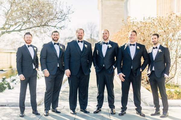 mitchell schwartz groomsmen suits bow ties patent leather shoes john greco geoff schwartz alex mack