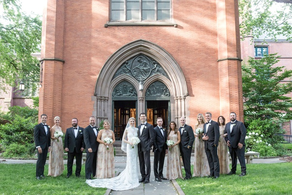 wedding ceremony venue chapel of the good shepherd new york pattern bridesmaid dresses groomsmen