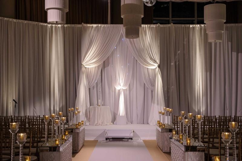 Elegant Drapery At Indoor Ceremony: Elegant Altar With White Drapery