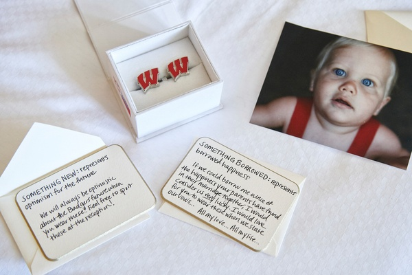 custom cufflinks university of Wisconsin logo and sweet love notes baby picture gift bride to groom