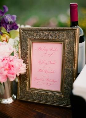 Antique gold frame with pink drink menu