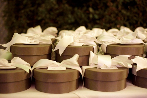Chocolate brown box with white ribbon