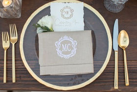 wedding menu torn edge paper monogram and custom hemstitch napkin linen gold charger flatware wood