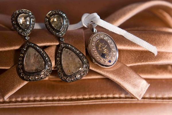 Monogrammed locket and drop earring set