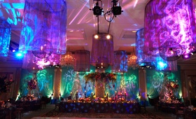 purple, blue, and teal uplighting with projected patterns