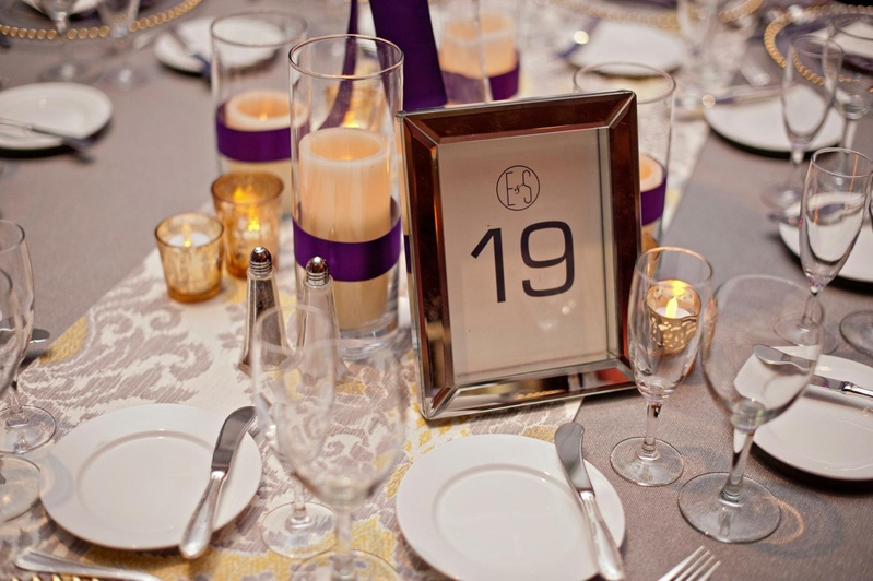Printed number and monogram in silver frame