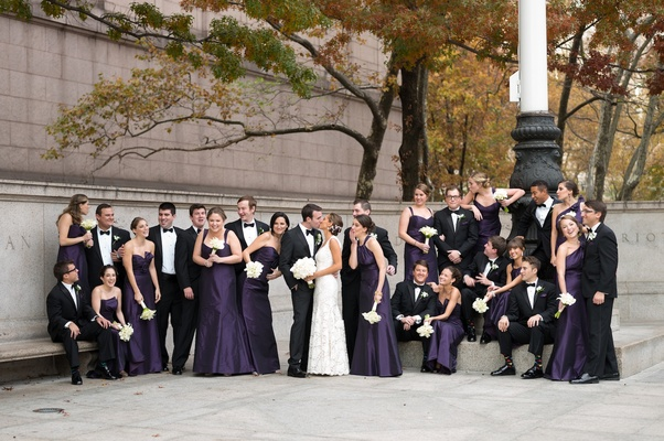 Long bridesmaid dresses with different necklines in dark purple