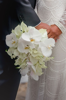 bridal bouquet with Phalaenopsis orchids and calla lilies