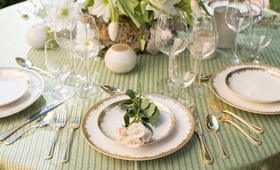 green white and gold rustic tablescape for napa woodlands theme blush flowers small candles