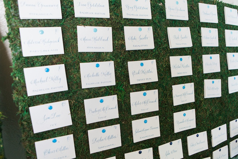 Wedding reception escort cards in calligraphy with blue pins on grassy board