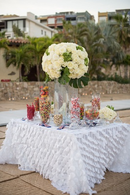 candy table at wedding reception, sweets table