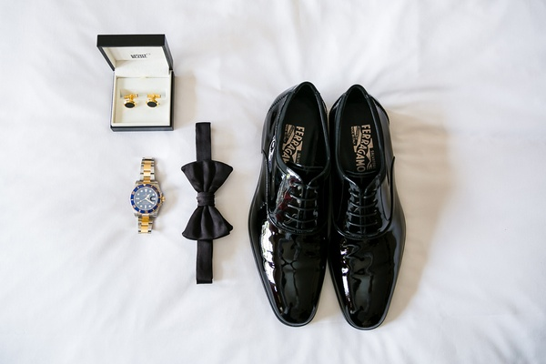 Salvatore Ferragamo black dress shoes, rolex, bow tie, cufflinks for grooms