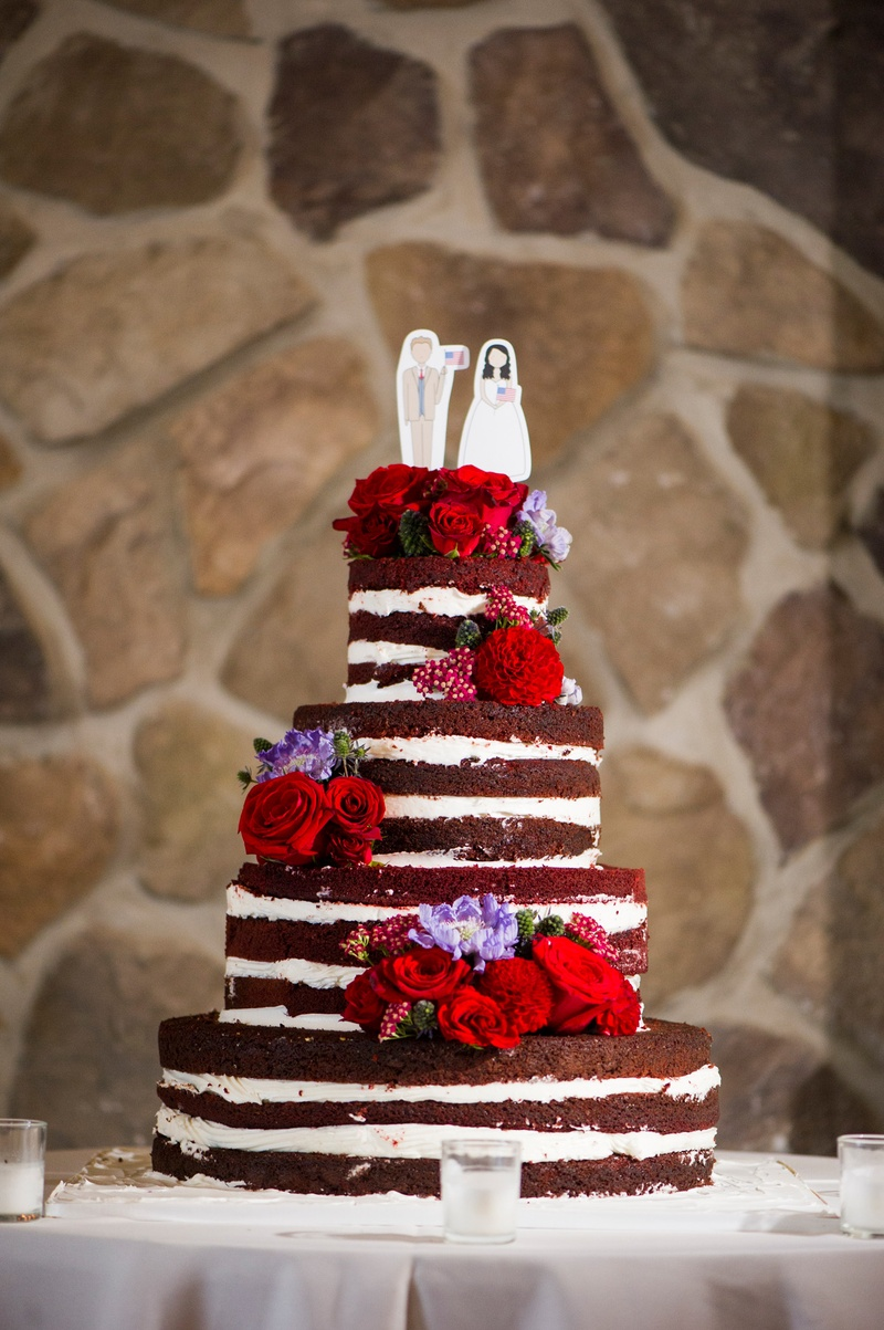 Cakes & Desserts Photos - Naked Red Velvet Wedding Cake with Red ...