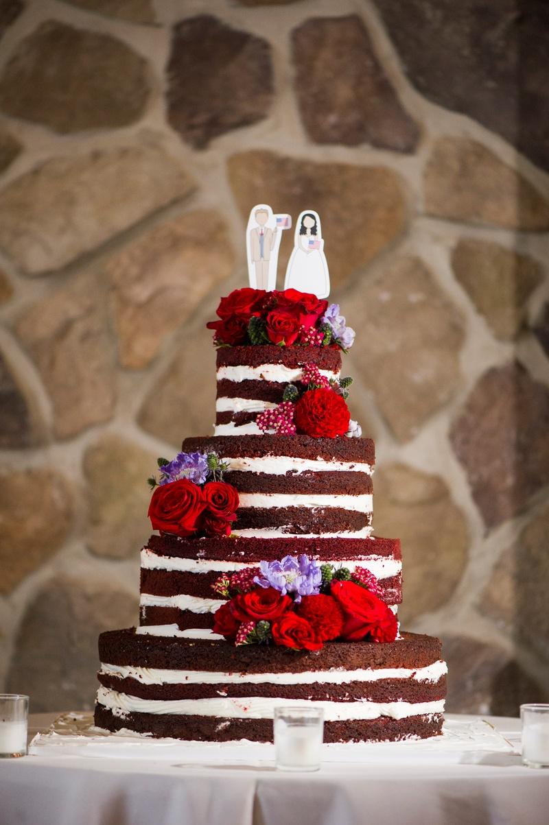 Red Velvet Wedding Cake.Cakes Desserts Photos Naked Red Velvet Wedding Cake With