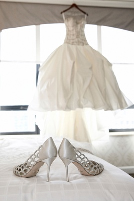 Bride's Sergio Rossi lattice pumps with crystals in silver