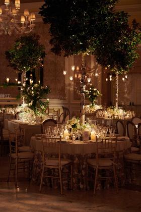 the breakers wedding, tree centerpieces, candelabra on trees