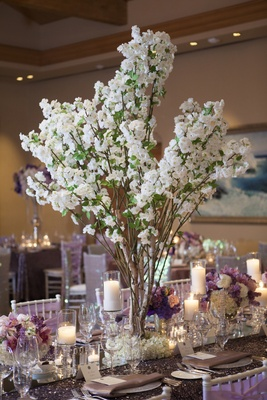 Sequined linens and mirrored tabletop with tree