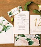 Wedding Paper Divas wedding invitation modern calligraphy flower print envelope liner and card