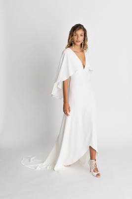 "Alexandra Grecco fall winter 2018 ""The Magic Hour"" wedding dress Sawyer v neck high low flutter"
