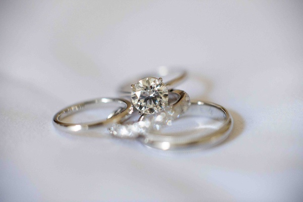 Diamond engagement ring with wedding bands