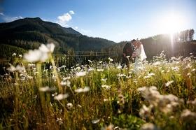 Rachel and Bret wedding in meadow in Big Sky, Montana