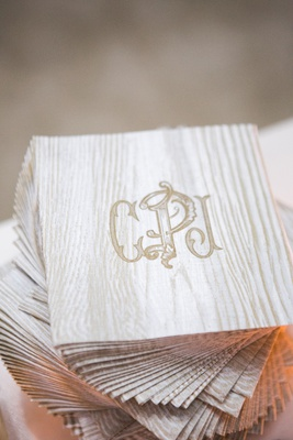 custom wedding cocktail napkins with monogram made to look like bark