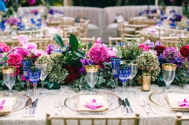 Flower table runner with pink rose, pink hydrangea, green hydrangea, and purple hydrangea