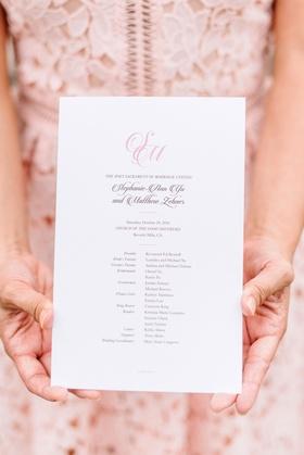 wedding ceremony program simple pink monogram script with list of attendants bridal party