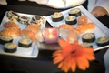 Japanese hors d'oeuvres with orange flower garnish